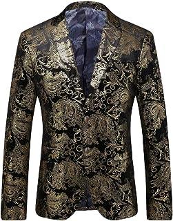 HZCX FASHION Men's Gold Velvet Slim Fit Two Button Sports Coats Dress Blazer