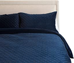 Canningvale Velluto Velvet Queen Embroidered Pattern Reversible Quilt Cover Set Notte Blue Bedroom
