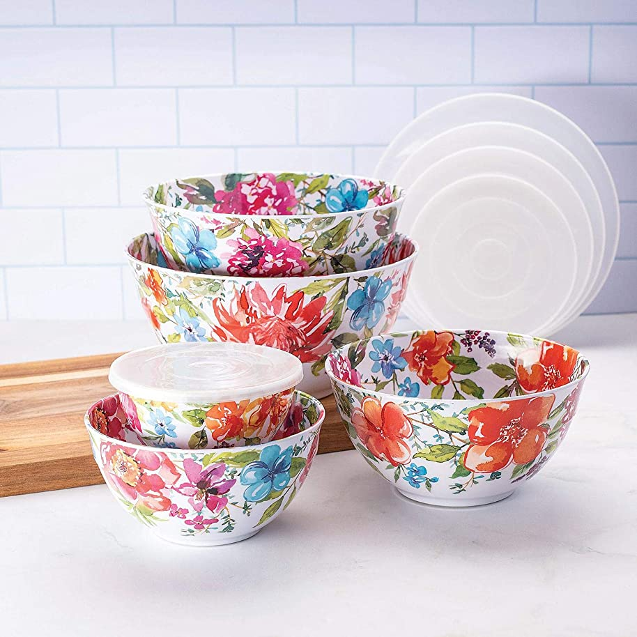 Member's Mark Melamine 10-Piece Mixing Bowl Set - Floral