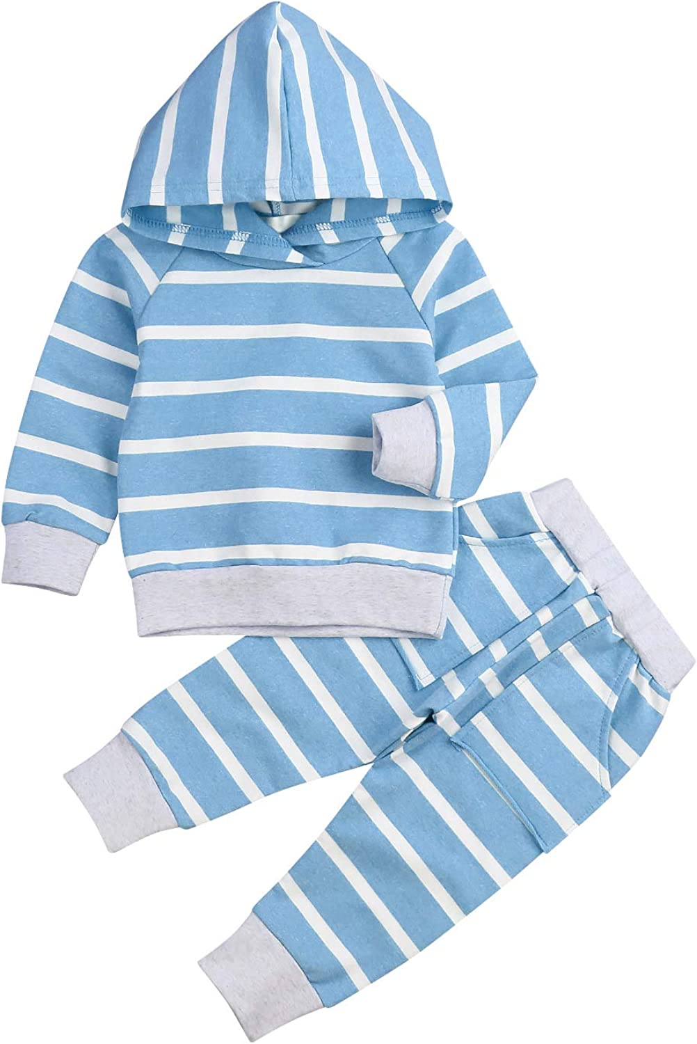 Baby Girls Boys Winter Clothes Set Long Sleeve Striped Hoodie Sweatshirt Pants Outfit Sets for Infant Toddler