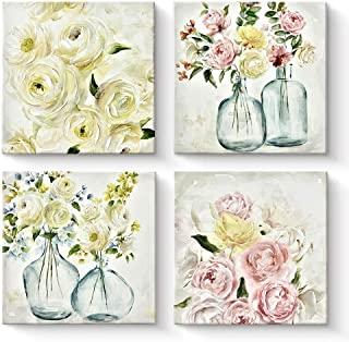 Pigort Summer Breeze Series - Abstract Roses Paintings Canvas Wall Art Set Floral Canvas Print Artwork for Home Wall Decor...