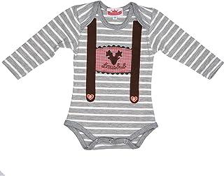 Eisenherz Baby Body Langarm grau weiß Lausbub und Hirschkopf mit Hosenträger Applikation in verschiedenen Größen
