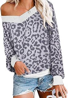Camiseta de Manga Larga con Cuello en V y Estampado de Leopardo para Mujer