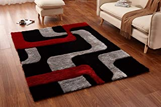 Msrugs Shaggy 3D Black/Red Area Rug 5' x 7' 099