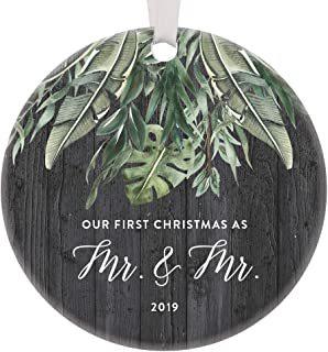 2019 Gay Christmas Couple Marriage Ornament Same Sex Gifts For Men Newlywed Pride Wedding Ideas For Life Partners First Holiday Groom Gift Mr and Mr Love Celebration Ceramic 3