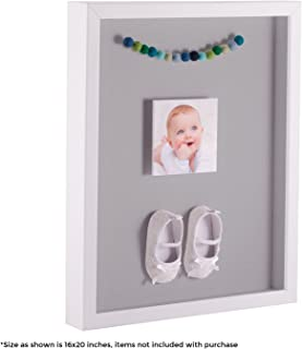 ArtToFrames 20 x 24 Inch Shadow Box Picture Frame, with a Satin White 1'' Shadowbox Frame and TV Grey Mat