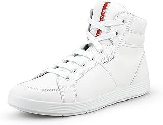 ff23b6775 Prada Men's Leather Zip-Side High-top Sneaker, White 4T2842