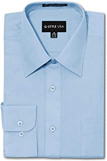G-Style USA Men's Regular Fit Long Sleeve Solid Color Dress Shirts - Sky Blue - X-Large - 32-33