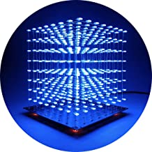 iCubeSmart 3D Led Cube Light DIY Kit with 3D Animation Editing Software Squared LED 8x8x8 Electronic Toy for Children and Teenagers Learning Activities Suit(3D8S-BLUE)