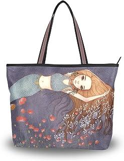 ALAZA Tote Schultertasche Meerjungfrau und Mohnblumen-Blumen-Handtasche Groß