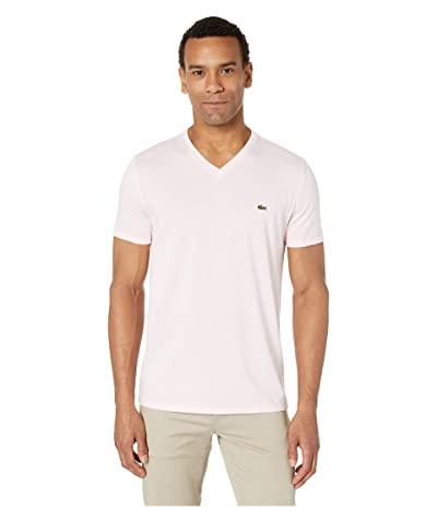 Lacoste Short Sleeve V-Neck Pima Jersey Tee (Flamingo) Men
