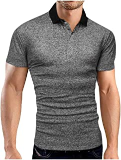 SPE969 Men's Cool Solid Polo Shirt,4 Colors Business Turn-Down Collar Short Sleeve Shirt Blouse