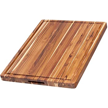 Teak Haus Edge Grain Teakwood Cutting Board with Hand Grips & Juice Canal