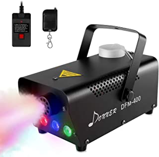 Mopoq Smoke Fluid Fog Machine with LED Stage Lights and Wired Wireless Remote Control, Portable Disco Lighting Effect Thic...