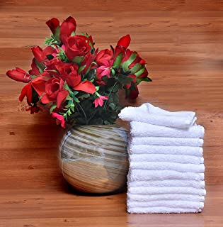 12pcs Pure 100% Cotton Wash Cloth Hand Towels, 30 x 30cm 600 GSM Premium Quality Face Cloth, Highly Absorbent & Soft Feel ...