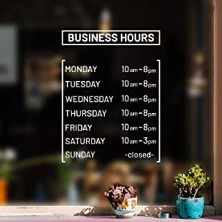 Vinyl Wall Decal - Custom Business Hours - from 0.5