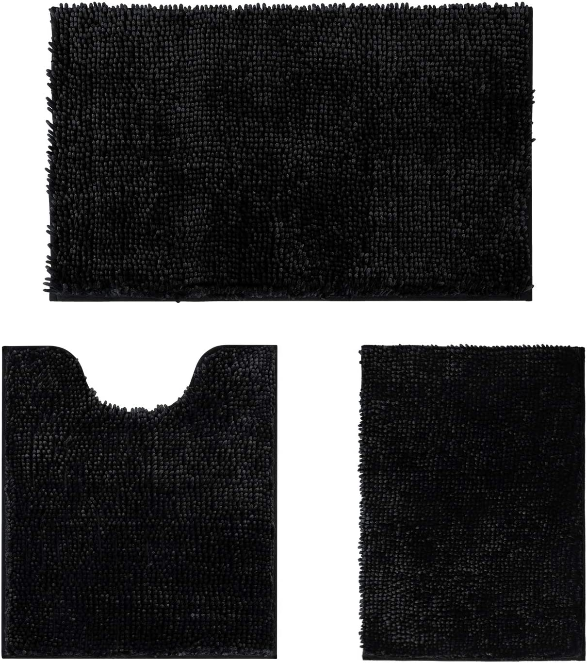HOMEIDEAS 3 Pieces Outlet sale feature Bathroom Department store Rugs Velve Set Black