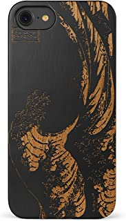 iPhone 8 Case, CaseYard [ Wood Series ] Slim Fit Hybrid Case for Apple iPhone 8,Lightweight Premium Made in California (Black) - Great Wave