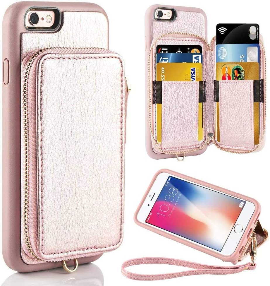 ZVE Case for Apple iPhone 6 Plus and iPhone 6s Plus, 5.5 inch, Leather Wallet Case with Credit Card Holder Slot Zipper Wallet Pocket Purse, Cover for Apple iPhone 6 Plus / 6s Plus - Rose Gold