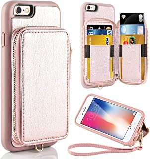 ZVE Case for Apple iPhone 6s and iPhone 6, 4.7 inch, Leather Wallet Case with Credit Card Holder Slot Zipper Wallet Pocket Purse Handbag Wrist Strap Case for Apple iPhone 6 / 6s - Rose Gold