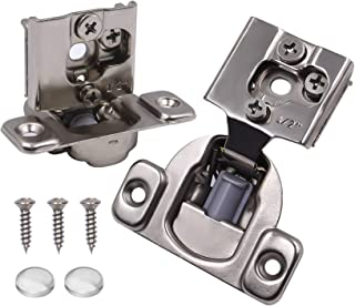 """Tanzfrosch 20 Pack Soft Close Concealed Kitchen Cabinet Hinges Satin Nickel, 1/2"""" Overlay for Face Frame Cabinet, 105 Degr..."""