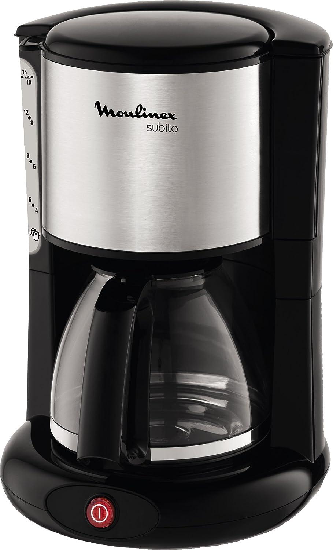 Moulinex FG360811 Cafetera de Filtro, 12 Tazas, función Auto, 1000 W, 45 Decibeles, DAA, INOX y Negro