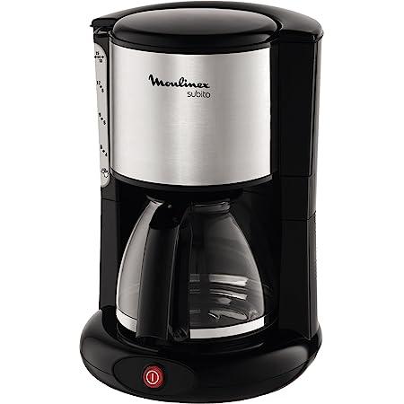 MOULINEX Cafetières filtre SUBITO inox 10/15 Tasses Machine à café cafetière électriqueCafetière Capacité 1.25L Antigoutte Porte-filtre pivotant Auto off 30 minutes FG360811