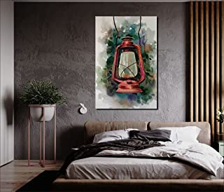 Aditya Sign Hand drawn watercolor old oil lamp on the wall paintings, Art Print, Home Decoration, Canvas Art Painting, Hom...