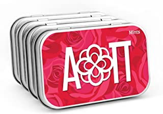 Alpha Omicron Pi— (4-PACK) Sugar-Free Peppermint Candies with Large Decorative Tin (about 265 mints per tin). Big Little Sister, Valentines Day, gift bags, stocking stuffers—by Worthy.