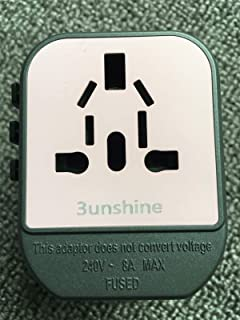 3unshine Universal Travel Power Adapter, International Adapter, Fast 2,4A 2-USB Global European Power Charger, AC Wall Plu...