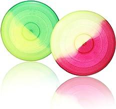 com-four® 2X Frisbee para niños y Adultos - Disco de Lanzamiento para Perros - Frisbee para Jugar - Disco Volador en Colores Brillantes [la selección varía]