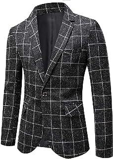 FSSE Men Suit Plaid Check Business Regular Fit Casual Dress Blazer Jacket Suit Coat