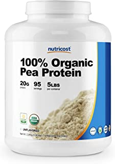 Nutricost Organic Pea Protein Isolate Powder (5LBS) - Unflavored, Certified USDA Organic, Protein from Plants, Vegan Frien...