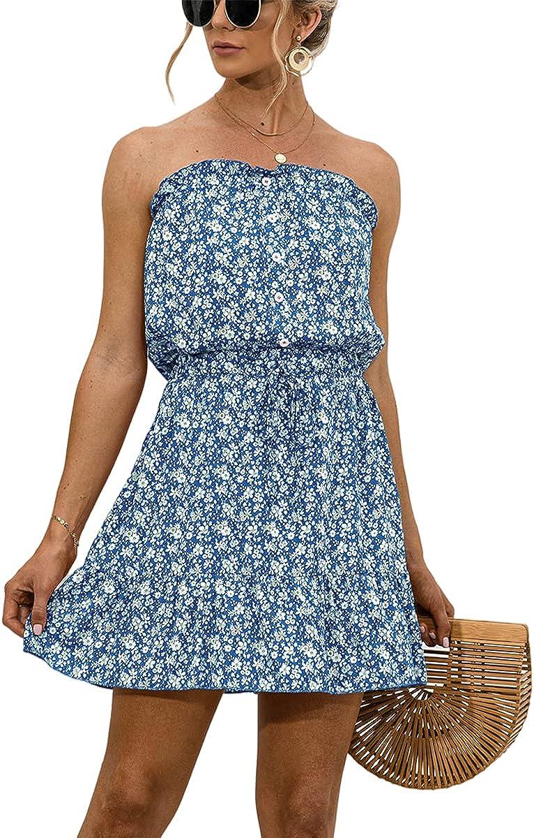 Bengbobar Summer Dresses for Women Casual Strapless Mini Dress Floral Print Ruffle Short Dress with Belt