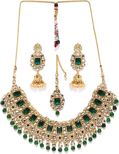 Traditional Kundan Green Beads Bridal Choker Necklace Set For Women ZPFK8686