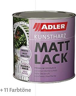 ADLER Kunstharz Mattlack Weiß 375 ml - Erstklassiger Lack matt, geruchsarm mit guter Wetter- und Vergilbungsbeständigkeit und hoher Deckkraft - Kunstharzlack in Bootslack Qualität