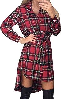 Style Dome Camisas Mujer Blusas Manga Larga Vestidos Invierno Franela Plaid Blusa Vestido Jersey Tartán con Cinturones Ves...