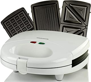 OVENTE GPI202W 3-in-1 Electric Sandwich Maker with Detachable Non-Stick Waffle and Grill Plates, 750-Watts, LED Indicator Lights, Cool Touch Handle, Anti-Skid Feet, GPI202W-White