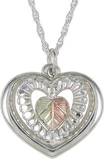 product image for Black Hills Sterling Silver Heart Pendant, 12K Gold Split Leaf