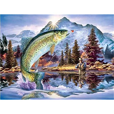 Zimal 5D DIY Diamond Painting Animals Full Drill Resin Goldfish Diamond Embroidery Fish Birthday Party Decorations Kids 30x40cm