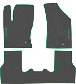 San Auto Car Floor Mat for Jeep Compass 2017-2018-2019 Custom Fit Black/Green,Rubber Auto Floor Liner Mat All Weather Heavy Duty & Odorless