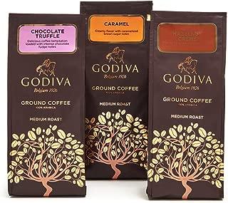 Godiva Chocolatier Ground Coffee Set, Premium Medium Roast Coffee, Chocolate Truffle + Hazelnut Creme + Caramel, Set of 3, 10 Ounce each