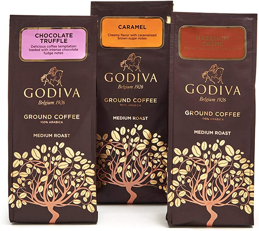 Godiva Chocolatier Ground Coffee Set Premium Medium Roast Coffee Chocolate Truffle Hazelnut Creme Caramel Set Of 3 10 Ounce Each