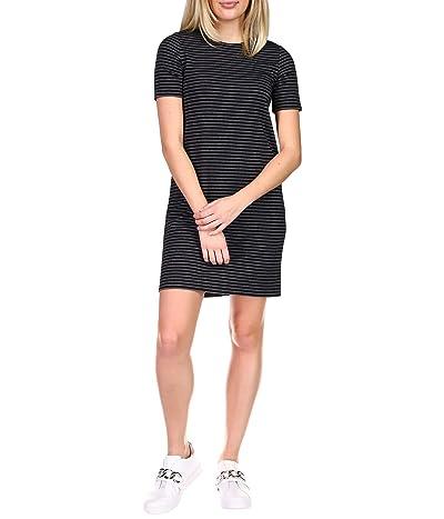 MICHAEL Michael Kors Short Sleeve Crew Texture Dress (Black/White) Women