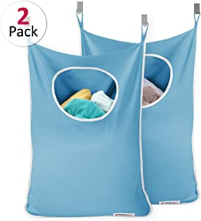 Cotton Canvas Hanging Laundry Hamper Bag For Closets Dorms Space Saving Door-Hanging Laundry Hamper Bag Storage with 2 Stainless Steel Hooks 2 Strong Suction Cups Coffee Travel