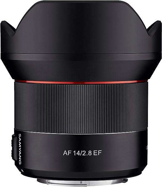Samyang SA7051 - Objetivo de focal fija con auto focus para cámaras digitales AF 14mm F2.8 CANON EF. color negro