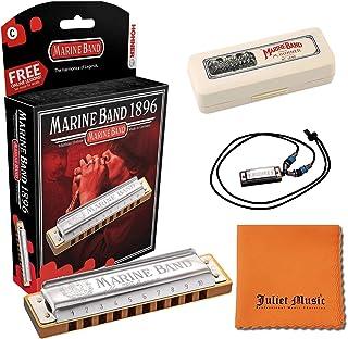 Hohner Harmonica Marine Band Key C 1896BXC 10 Holes, Bundle with Hard Case, Mini Harmonica Necklace Juliet Music Polishing...