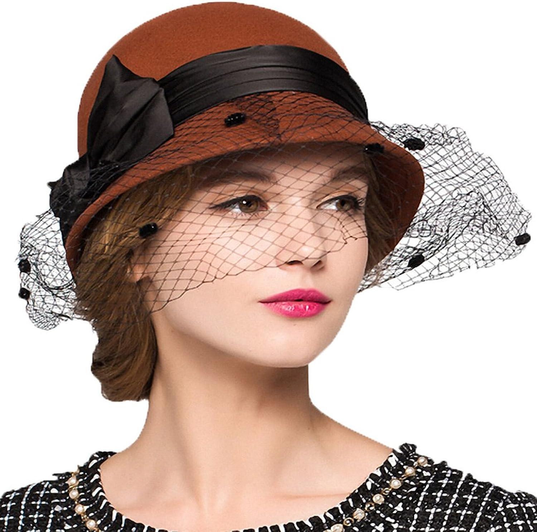Maitose Trade; Women's Bow Wool Felt Bowler Veil Hat