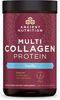 Ancient Nutrition Multi Collagen Protein Powder, Vanilla Flavor, Formulated by Dr. Josh Axe, 5 Types of Foo...