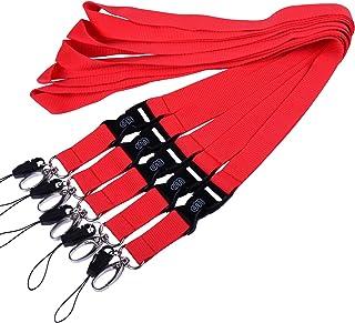 Wisdompro 5 Cordons Tour de Cou en Polyester avec Fermoir Ovale et Boucle Détachable pour Téléphones, Appareil Photo, iPo...